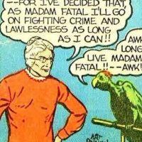 """""""Madame Fatal"""" se viste como anciana y ese es su único poder. Su loro se llama """"Hamlet"""". Foto:vía DC Cómics"""