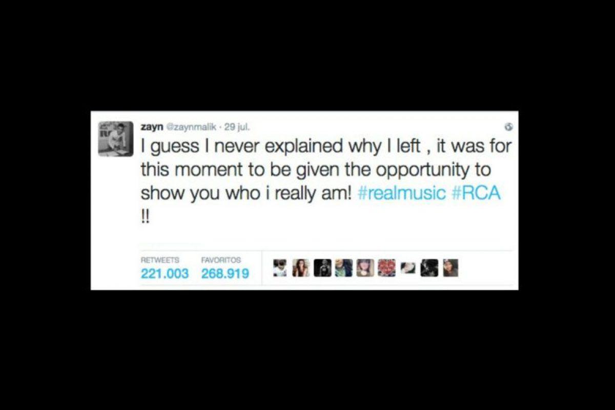 """""""Supongo que nunca expliqué porqué me fui (de One Direction), fue por este momento, para tener la oportunidad de mostraros quien soy en realidad. Música de verdad. RCA"""", tuiteó el artista. Foto:https://twitter.com/zaynmalik"""