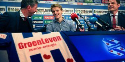 Martin Ødegaard en su presentación con el Heerenveen holandés. Foto:AFP