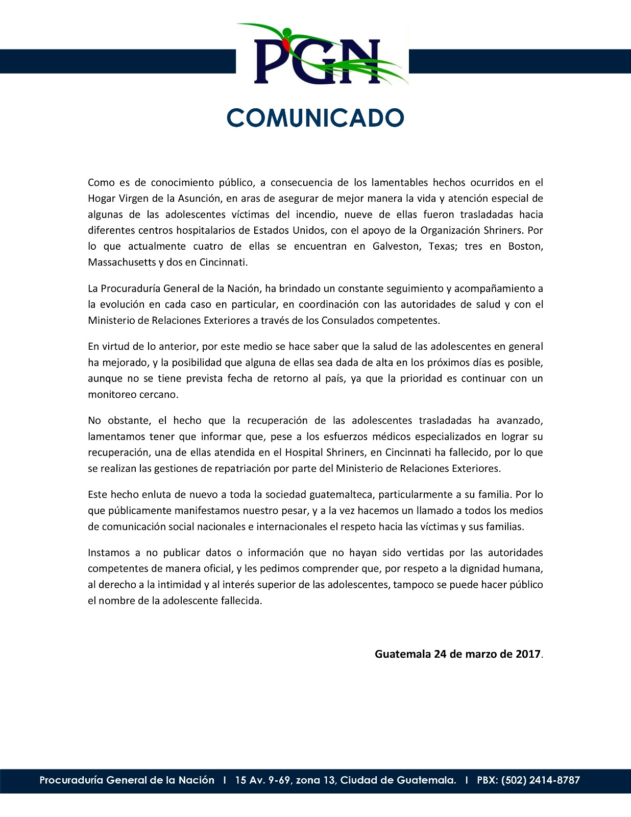 Aumenta a 41 las menores fallecidas en albergue de Guatemala