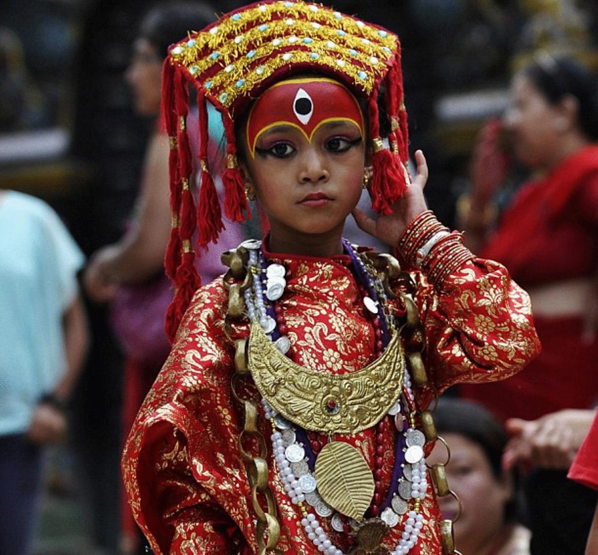 diosa viviente niña nepal foto tradición
