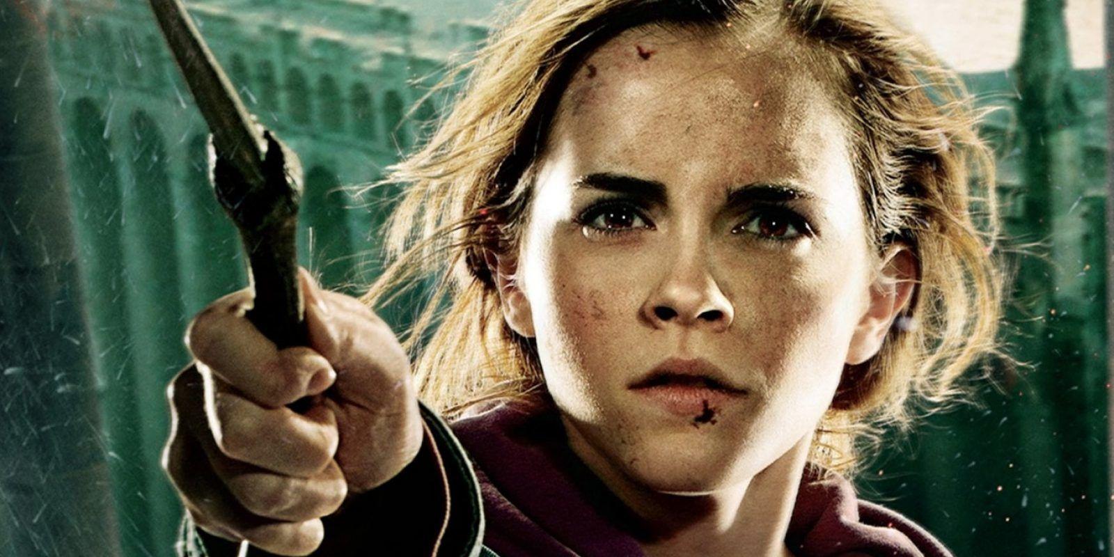Emma Watson usó dientes postizos en esta escena de Harry Potter. Imagen Por: Warner