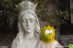 """Se ofreció a restaurar al """"Niño Jesús"""" y le quedó como """"Maggie Simpson"""". Imagen Por: Twitter.com"""