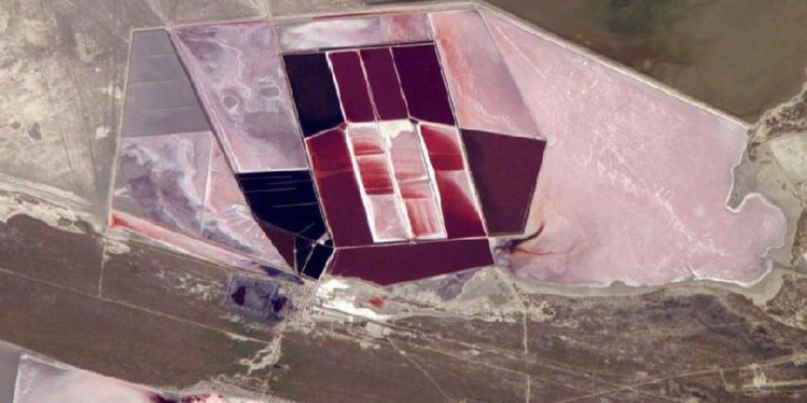 Lagos de sal, Botswana, fotografiados desde la Estación Espacial Internacional Foto:NASA