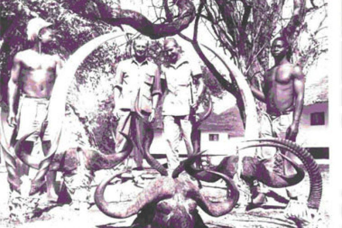 Ahí va otra foto del rey cazando, con tres cabezas de búfalo cafre, los cuernos de un antílope sable y un gran kudú Foto:Twitter