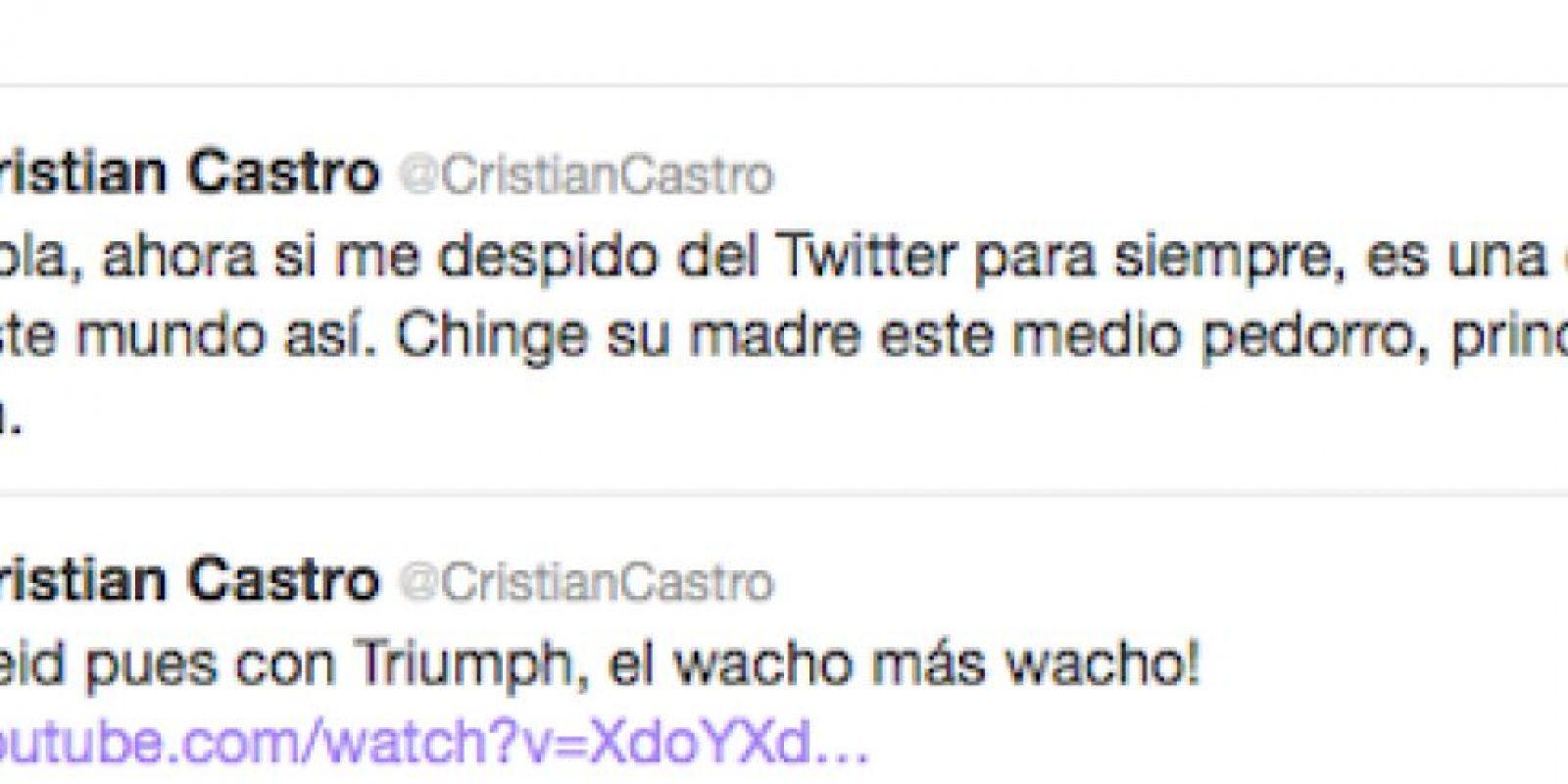 Hasta el momento la cuenta del cantante en Twitter sigue activa Foto:Twitter