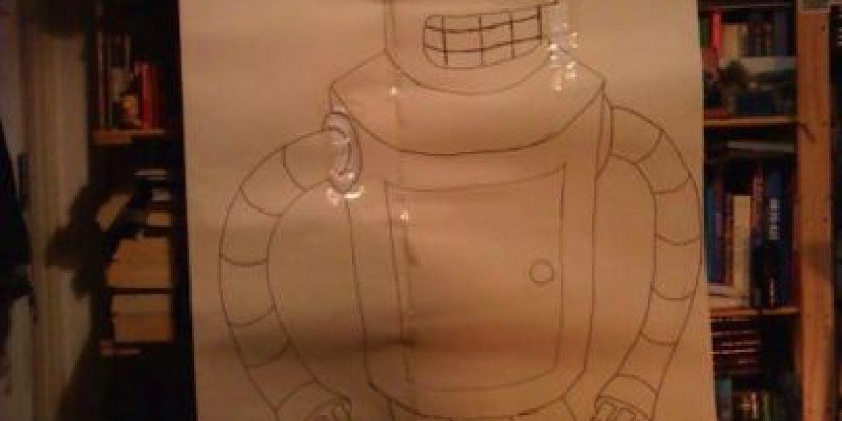 FOTOS: Construyen a Bender, de Futurama, con tanques de gas