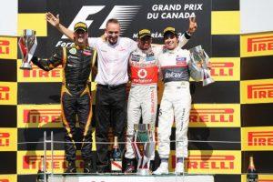 Romain Grosjean y Hamilton también estuvieron en ese podio Foto:Getty Images. Imagen Por: