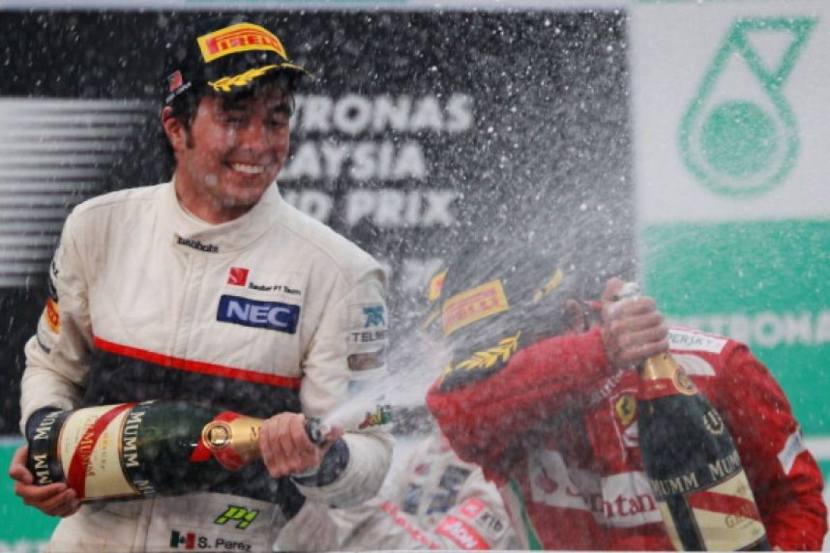 El primer podio de 'Checo' en Malasia, 2012 Foto: Getty Images