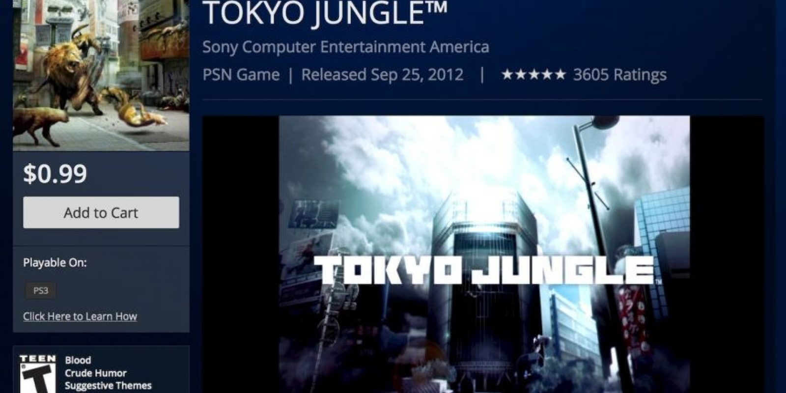 Tokyo Jungle también está disponible. Foto: PlayStation