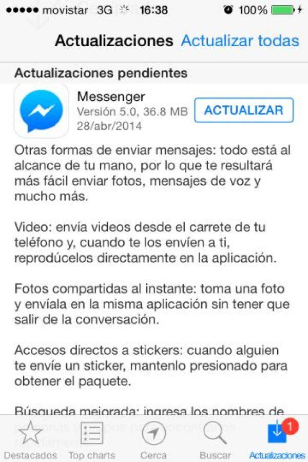 Actualización para iOS Foto:Facebook