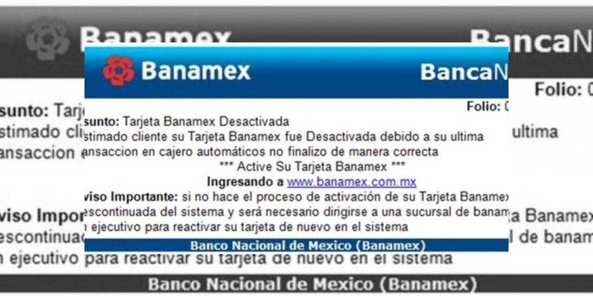 Condusef alerta por correo falso de Banamex