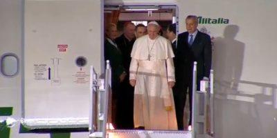 El Papa aterrizó 15 minutos antes de lo planeado, a las 19:15 horas. Foto:Especial