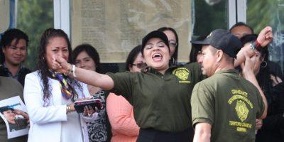 Nestora Salgado, coordinadora de la Policía Comunitaria de Olinalá, Guerrero, a su salida del penal de Tepepan Foto:Cuartoscuro