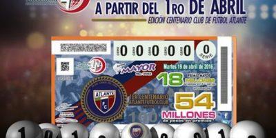Así luce el billete de lotería conmemorativo del Atlante Foto:Twitter: @Atlante