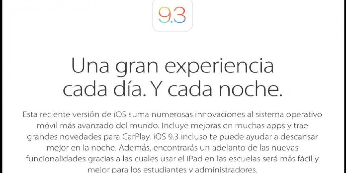 Apple lanza actualización para solucionar errores de iOS 9.3