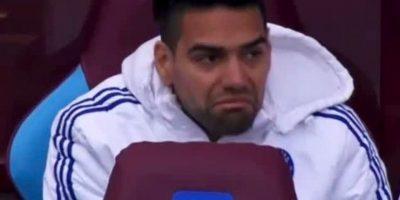 Esta fue la cara que hizo Radamel Falcao García al no tener minutos con Chelsea. Foto:Vía twitter.com