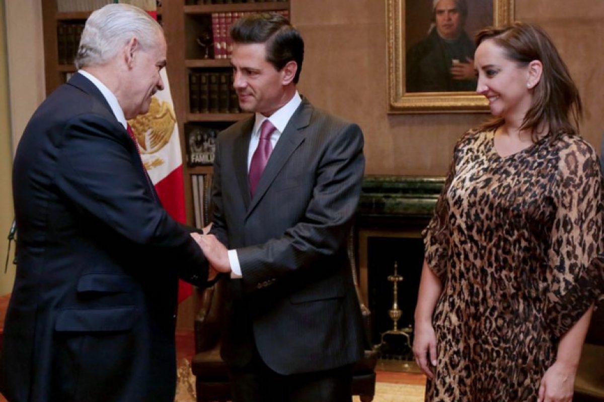 Miguel Basáñez Ebergenyi, en reunión el presidente de México, Enrique Peña Nieto y la canciller, Claudia Ruiz Massieu. Foto:Cuartoscuro