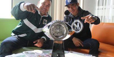 El trofeo de la LFA, Omar Cojolum y Víctor Martínez visitaron la redacción de Publimetro Foto:Nicolás Corte