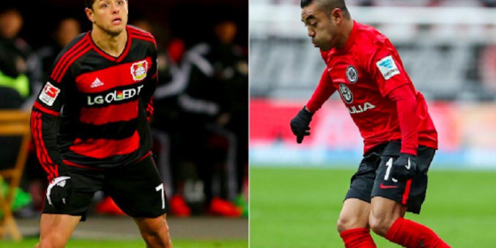 Javier Hernández (Leverkusen) y Marco Fabián (Frankfurt) Foto:Especial