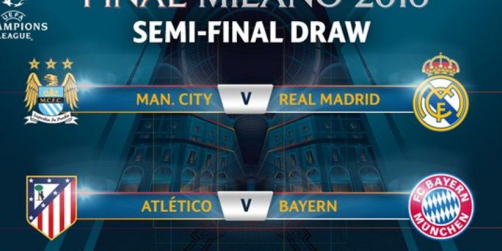 Así serán las semifinales de la Champions League Foto:twitter.com/ChampionsLeague/