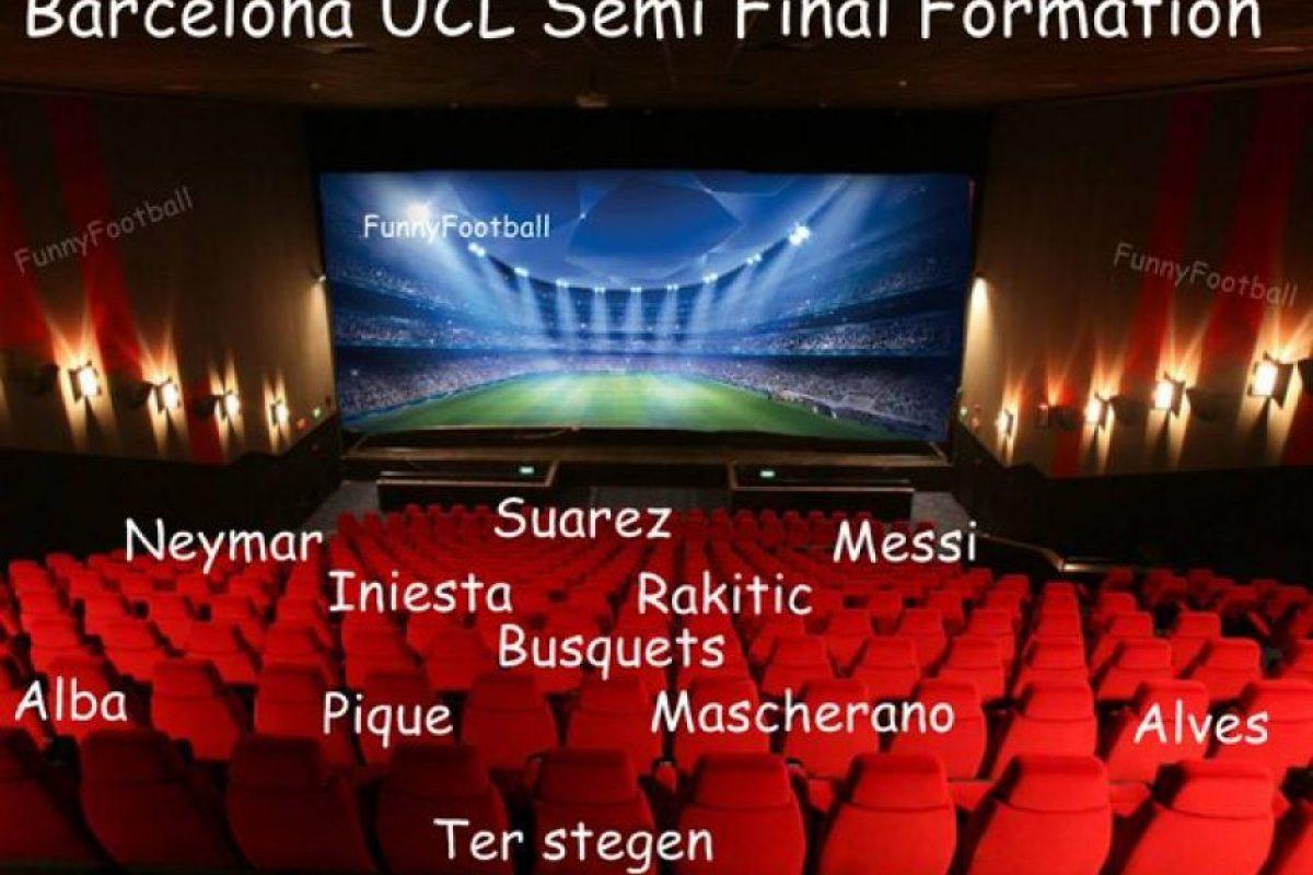 """Y así será la alineación de los """"culés"""" en las semifinales. Foto:Vía twitter.com/troll_football"""