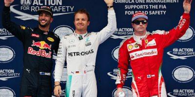Daniel Ricciardo (2), Nico Rosberg (1) y Kimi Raikkonen (3). Foto:Getty Images