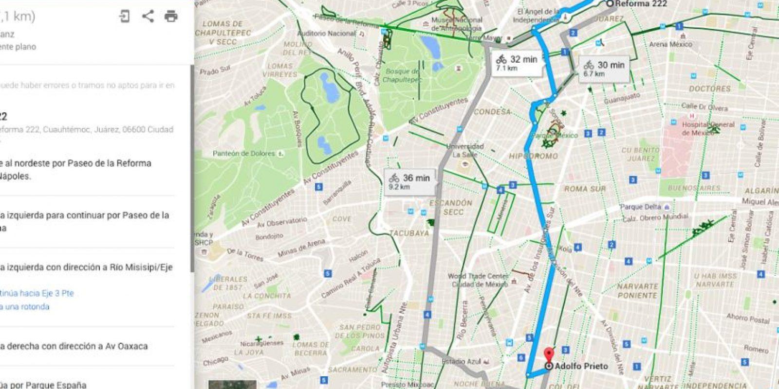 La nueva capa de Google Maps permite planear las rutas como ya ocurría con el auto o a pie Foto:Especial