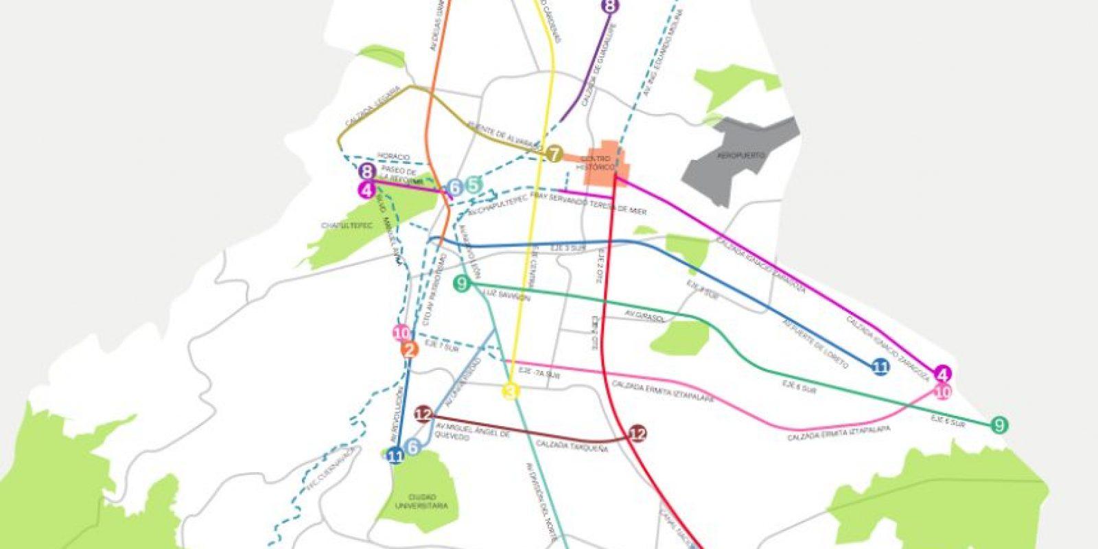 Algunas de las rutas propuestas igual a los kilómetros de líneas de Metrobús Foto:Especial