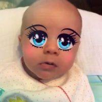 Estas son las máscaras más populares de la app. Ojos gigantes. Foto:MSQRD