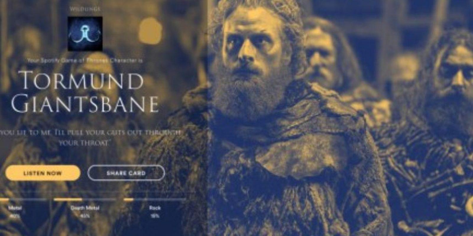 Personaje: Tormund Giantsbane. Foto:Spotify