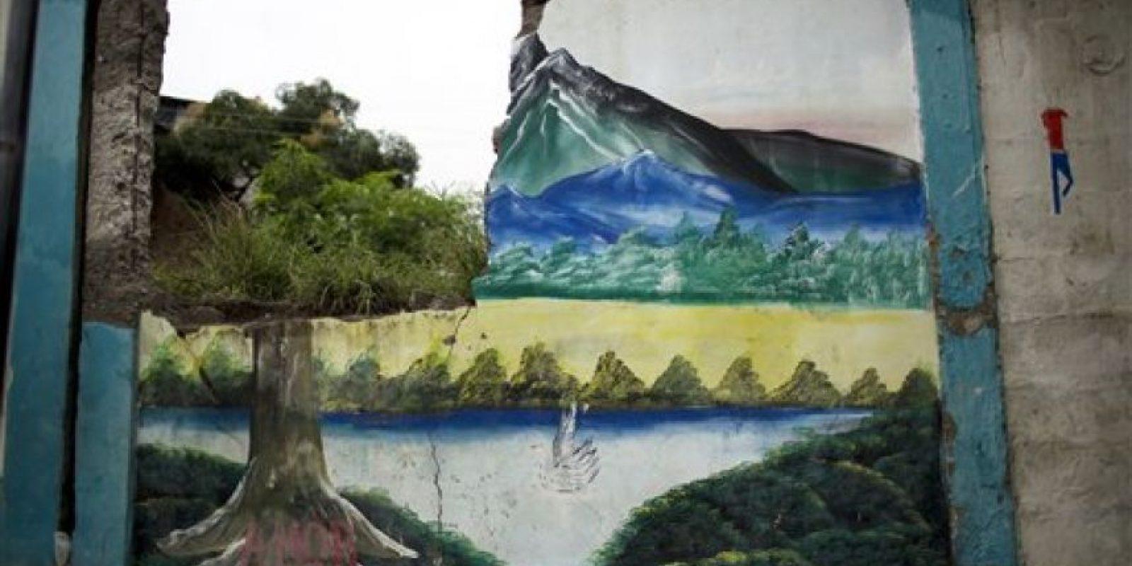 Esta imagen, tomada el 24 de abril de 2016, muestra pedazos de hierba a través de una grieta en un mural pintado sobre el muro de una escuela, que quedó dañado por un terremoto de magnitud 7,8 en Pedernales, Ecuador. Cientos de réplicas remecieron el país desde el sismo del 16 de abril, que dejó a los ecuatorianos durmiendo a la intemperie, con problemas para encontrar agua y comida. Foto:AP