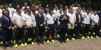 El presidente Enrique Peña Nieto dirigió unas palabras a los jugadores y cuerpo técnico de las Águilas. Foto:Twitter: @PresidenciaMX
