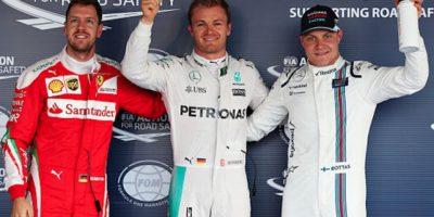 Los tres líderes: Vettel (sancionado), Rosberg y Bottas. Foto:Getty Images