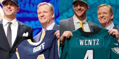 Los quarterbacks Jared Goff y Carson Wentz fueron la primera y segunda selección global respectivamente. Foto:Especial