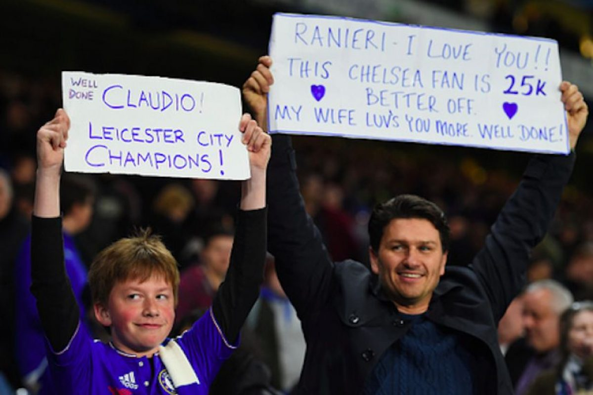 Aficionados 'blues' mostraron apoyo para el Leicester City. Foto:Getty Images