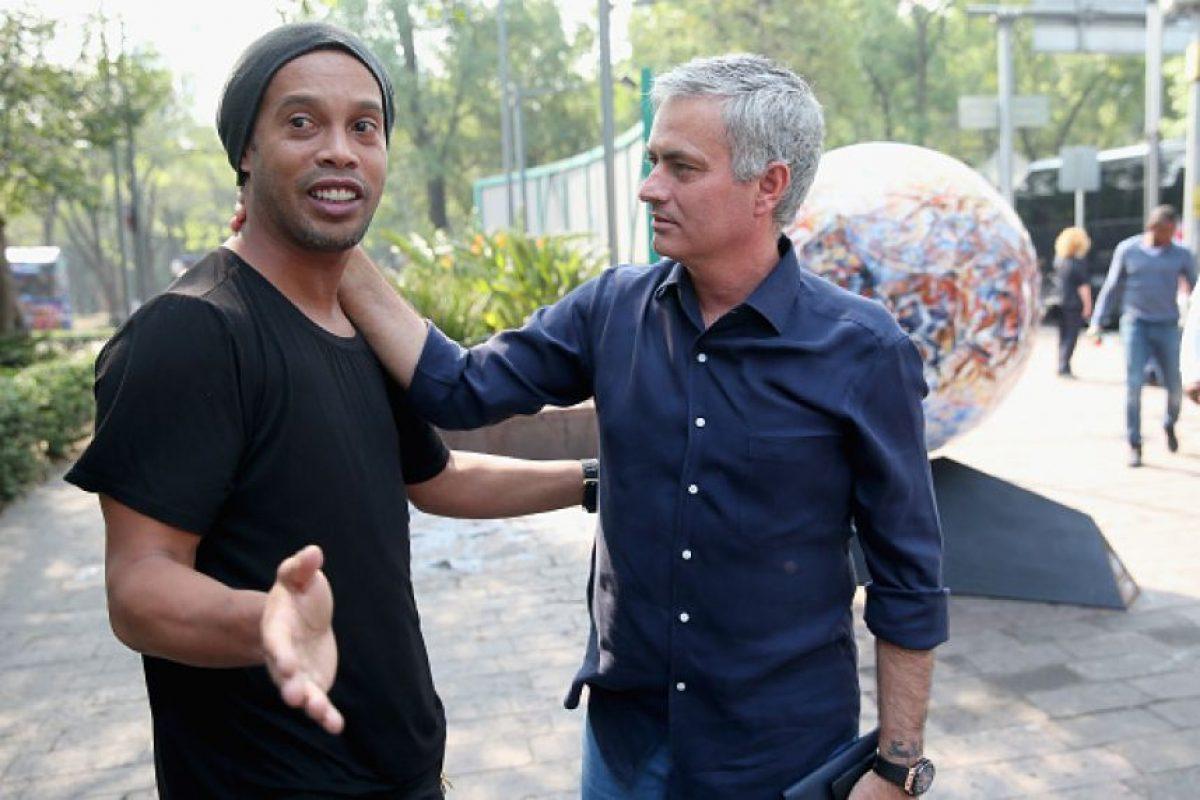 Ronaldinho y José Mourinho Foto:Getty Images