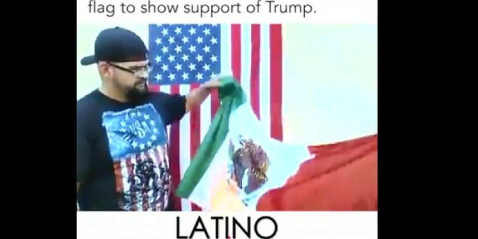"""""""Sólo tenemos una bandera y es la bandera americana, no vamos a tener otra bandera"""", afirman en el video. Foto:Especial"""