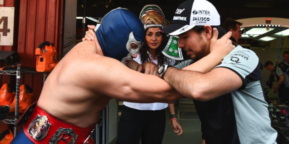 Blue Demon Jr. y Checo, en el Gran Premio de  España
