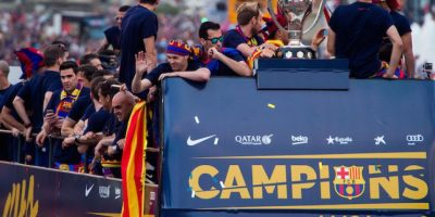 Barcelona celebra el título con su gente Foto:Getty Images