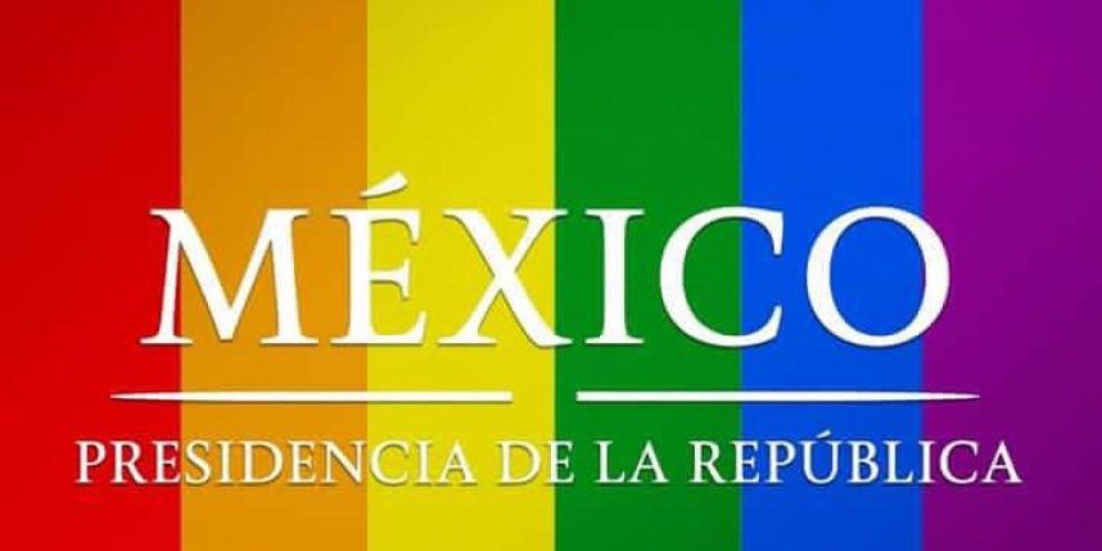 La presidencia también colocó la bandera de la comunidad LGBT Foto:@PresidenciaMX