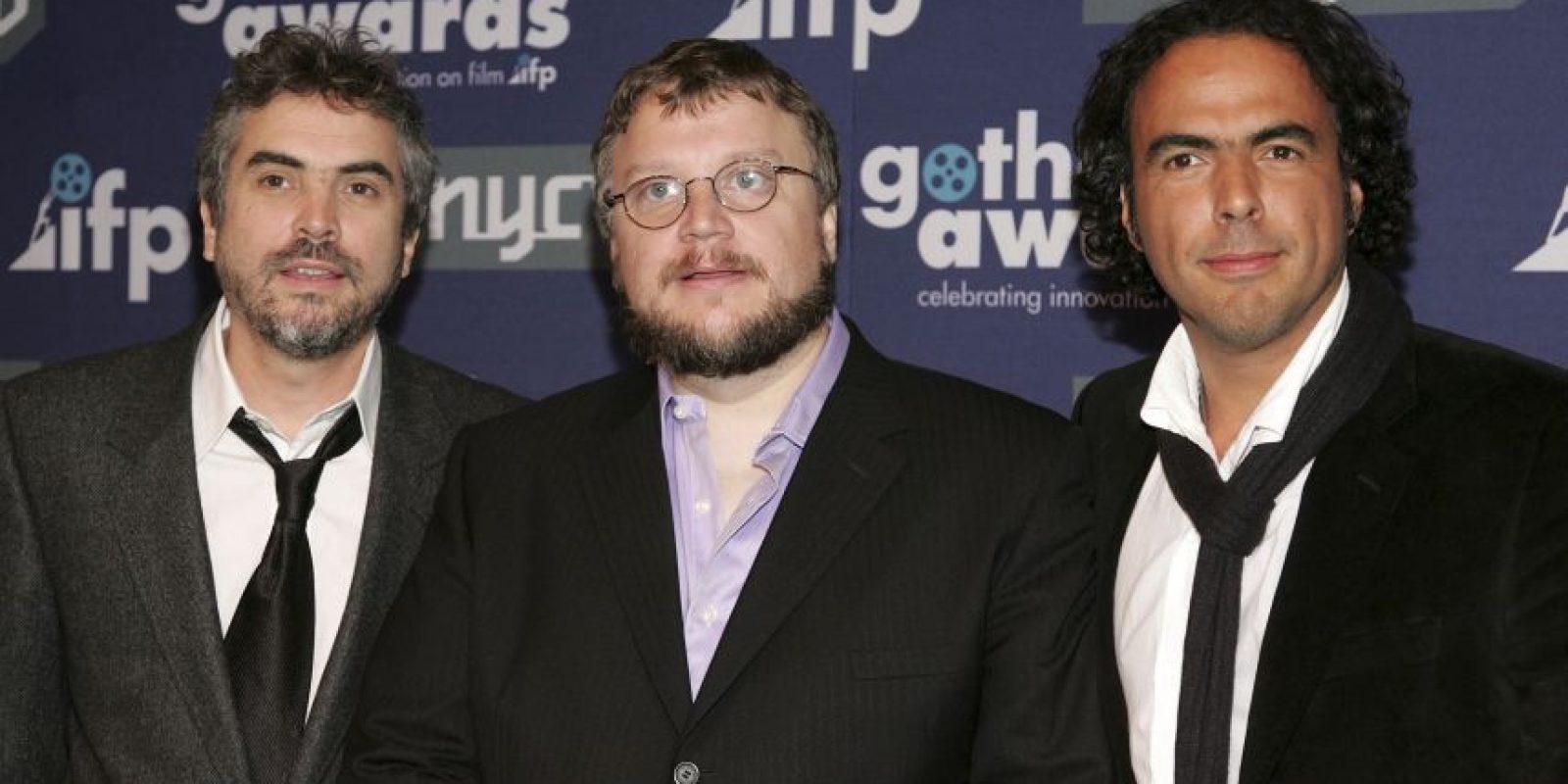 Cuarón, Del Toro e Iñárritu en 2006. Ese año estrenaron Children of men, El laberinto del fauno y Babel, respectivamente. Foto:Getty Images