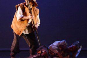 La obra incluye a cuatro personajes en escena: Don Quijote de la Mancha, Sancho Panza, Camacho y Lorenzo Foto:@bellasartesinba