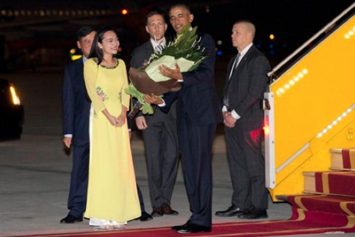 El presidente Barack Obama llegó cerca de las 21.30 hora local. Foto:Ap