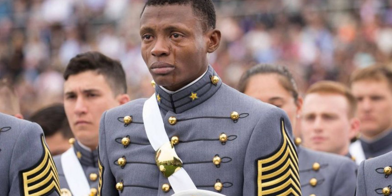 Alix Schoelcher Idrache lloró durante la graduación de la Academia Militar de West Point, en Nueva York. Foto: West Point – The U.S. Military Academy