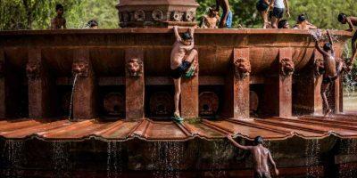 Los pequeños de la India aprovechan cualquier fuente para refrescarse y huir de la masa de aire caliente Foto:Getty Images