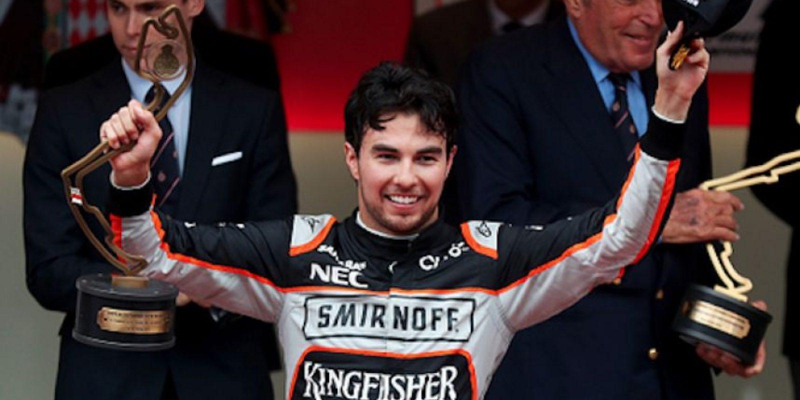 "Sergio ""Checo"" Pérez celebró su sexto podio este domingo, en Mónaco. Foto:Getty Images"