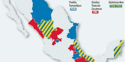 Así quedaron divididas las gubernaturas a espera de los conteos oficiales. Foto:Publimetro