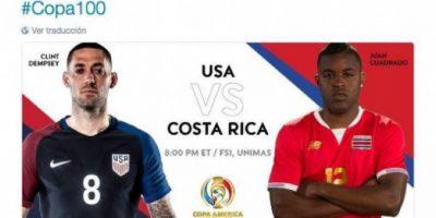 El twitter oficial de la organización promocionó el partido de Estados Unidos con Costa Rica, pero a Joel Campbell, delantero de los Ticos, le pusieron el nombre de Juan Guillermo Cuadrado Foto:Captura de pantalla