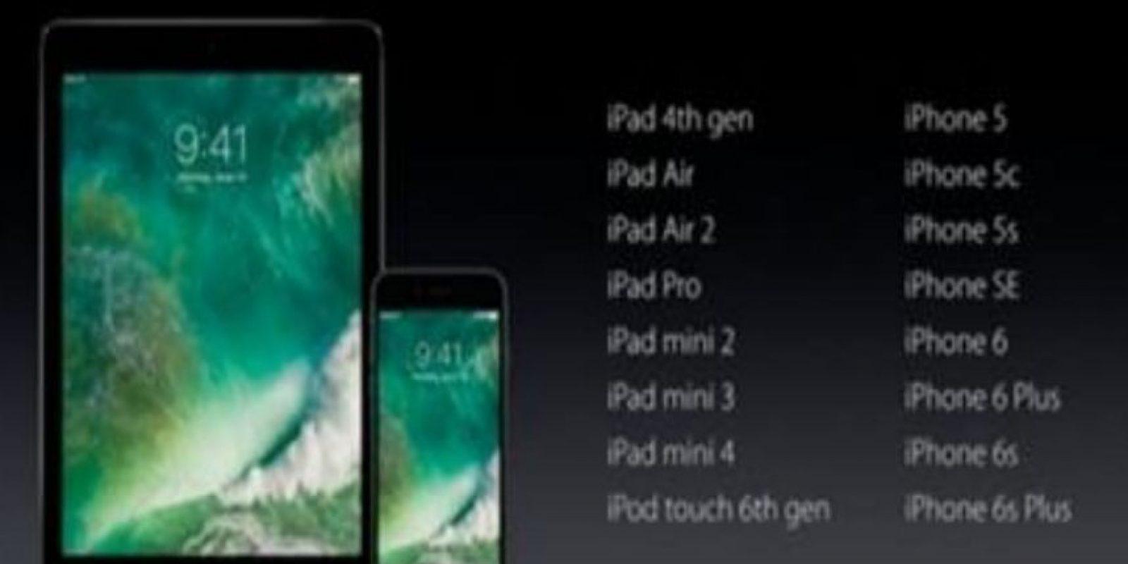 Estos son los dispositivos que soportarán iOS 10. Foto:Apple